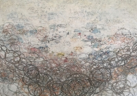 "What Lies Beneath #3, mixed media on board, 16""x 48"""